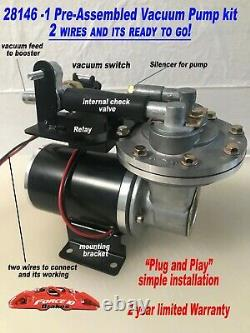 12Volt Electric Vacuum Pump Premium Kit for Brake Booster18- 24 Fully assembled