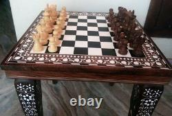 12 Chess Board Table Elephant Hand Carved Inlaid Work Square Rosewood Foldable