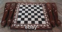 15 Chess Board Table Elephant Handmade Inlay Work Square Rosewood Foldable Deco