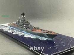 1700 Fully Assembled Russian Pyotr Velikiy Cruiser Model with Seascape Base