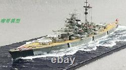1700 Scale Fully Assembled KMS Bismarck Battleship Model with Seascape Base
