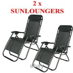 1-2 x ZERO GRAVITY RECLINER OUTDOOR CHAIR RECLINING GARDEN SUN LOUNGER PORTABLE
