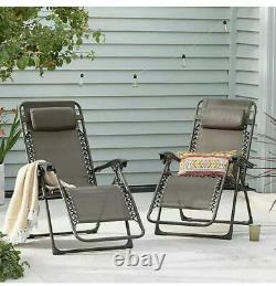 2X Gravity Reclining Sun Chairs Garden Loungers Folding Bed With Pillow Patio UK