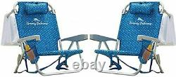 2 PACK Tommy Bahama Backpack Beach Folding Deck Chair Blue Flower 2021 IN HAND