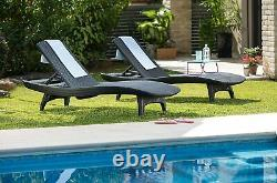 2 Pack Keter Pacific Sun Loungers in GreyFREE DELIVERY