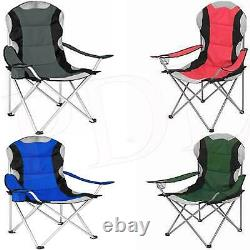 2 x Folding Camping Deluxe Chairs Heavy Duty Luxury Padded Cup Holder High Back