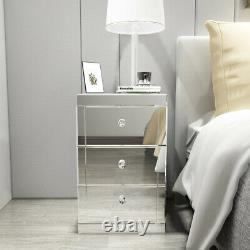 3 Drawers Mirrored Glass Bedside Cabinet Table Bedroom Tables Home Furniture