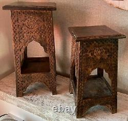 45cm Mango Wood Hand Carved Side Temple Table Handcrafted