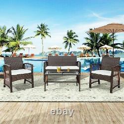 4Pcs Garden Outdoor Patio Furniture Set Wicker Rattan Chair Sofa set Bistro Set