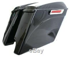 4.5 2 into 1 Extended Stretched Saddlebags with 6x9 speaker Lids for 14-up Harley
