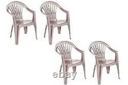 4 X Taupe Plastic Garden Chairs Low Back Seat Patio Partying Camping Stacking