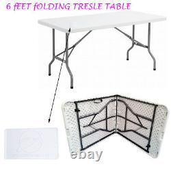 6FT HEAVY DUTY 1.8 Meter FOLDING CATERING CAMPING TRESTLE TABLE BBQ PICNIC PARTY