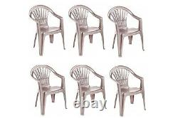 6 X Taupe Plastic Garden Chairs Low Back Seat Patio Partying Camping Stacking
