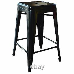 AmeriHome BS24BLKSET Loft Black 24 Inch Metal Bar Stool 4 Piece