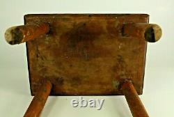 = Antique 19th c. Burl Wood Milking Stool on 4 Feet, Small Chair New England