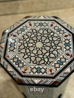 Antique Handmade End Table wood Inlaid Mother of Pearl (14)