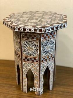 Antique Handmade End Table wood Inlaid Mother of Pearl (9.4)