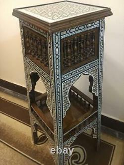 Antique Wood Phone Table Inlaid Mother of Pearl & Arabesque