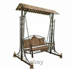 Antique Wooden & Wrought Iron Swing for Home Patio & Garden Floor-Standing style