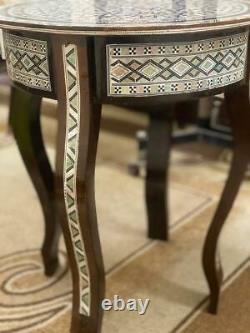 Antique wood End Table Inlaid Mother of Pearl (16)