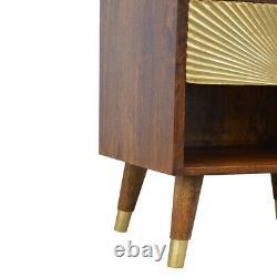 Art Deco Solid Dark Mango Wood Bedside Table Gold Sunrise Handmade Furniture