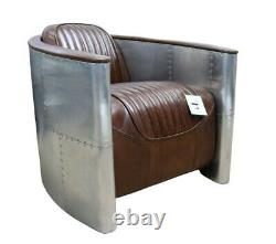 Aviator Chair Alluminium Aniline Real Leather New Distressed Retro Brown Retro