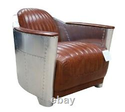 Aviator Spitfire chair in Tan Vintage Retro Real Leather Fast Del 7-14 Days