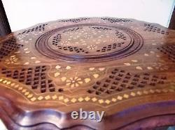 Beautiful Carved Round Table w Inlaid Brass Work 18 Coffee Round Table Foldable