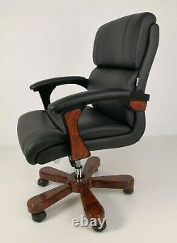 Black Leather Walnut Large Executive Office Chair Swivel Base Superb Quality