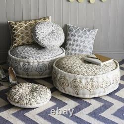 Bombay Duck Casablanca Embroidered Pouff Silver White Footstool Cushion Pouffe