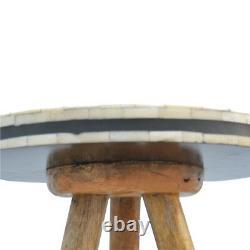 Bone Inlay Monochrome Geometric Three Legged Tripod Milking Stool / Side Table