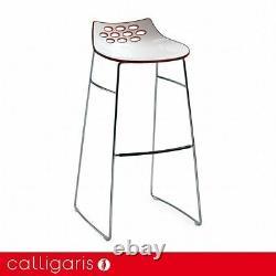 Calligaris Jam Bar Stool Designer Lounge Chrome Sleigh Legs Stool RRP £216 SALE