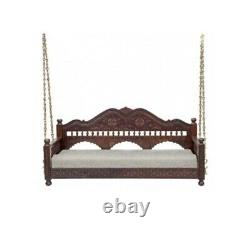 Ceiling Swing Fine Carved Indian Handmade Love seat With Metal Chain Jhula