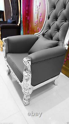 Chair High Back Baroque Chair Queen Throne Chair Gray Leather Silver Frame