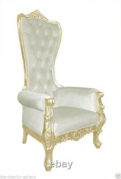 Chair High Back Chair High Back Baroque Chair Queen Throne Beige with Gold