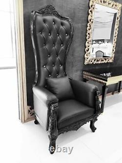 Chair High Back Chair High Back Baroque Chair Queen Throne Black with Black