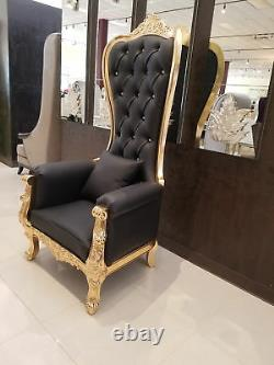 Chair High Back Chair High Back Baroque Chair Queen Throne Black with Gold