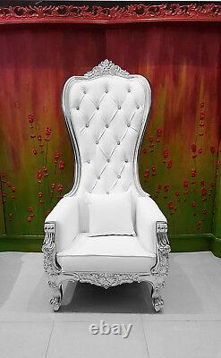 Chair High Back Chair Queen High Back Chair White Leather with Silver Frame