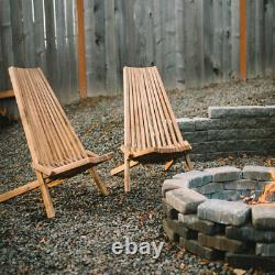Clevermade Outdoor Acacia Wood Tamarack Single Folding ChairFREE DELIVERY