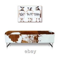 Cow hide leather seating bench. Real Fur! Illustration in cow skin brown-white