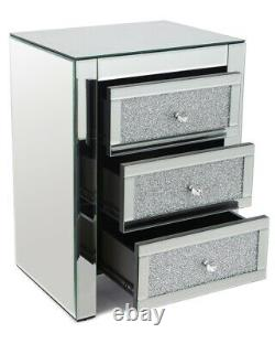 Crushed Diamond Crystal 3 Drawer Mirrored Bedside Table Mirror Furniture Bedroom