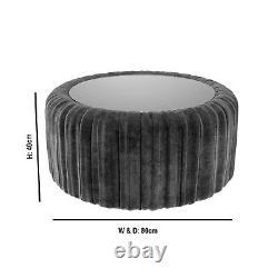 Dark Grey Velvet Coffee Table with Ottoman Storage Clio