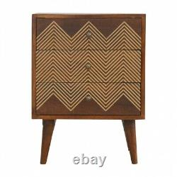 Dark Wood 3 Drawer Bedside Cabinet With Chevron Zig Zag Gold Wire Inlay Detail