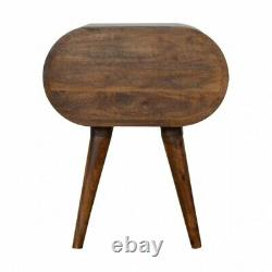 Dark Wood Rounded Bedside Table Cabinet / Side Table Mid Century Retro Style