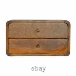 Deco Curved Mid Century Style Wall Mounted 2 Drawer Bedside Table In Dark Wood