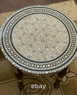 Egyptian End Table Wood Inlaid Mother of Pearl (16)