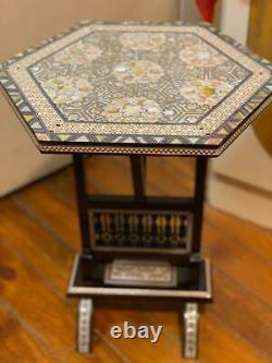 Egyptian Handmade Wood End Table Inlaid Mother of Pearl (14)