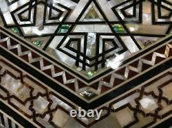 Egyptian Handmade Wood End Table Inlaid Mother of Pearl & Ebony (17.2)