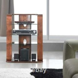 Florence Walnut Hi-Fi Stand Curved And Black Entertainment Glass Modern Shelves