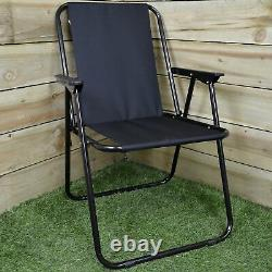 Folding Canvas Camping / Festival / Outdoor Chair With Plastic Arm Rests Black